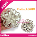 Big Size 20pcs 60mm Round Silver Rhinestones Buttons Flatback Crystal Decorative Button for Wedding Invitation Card / Bouquet