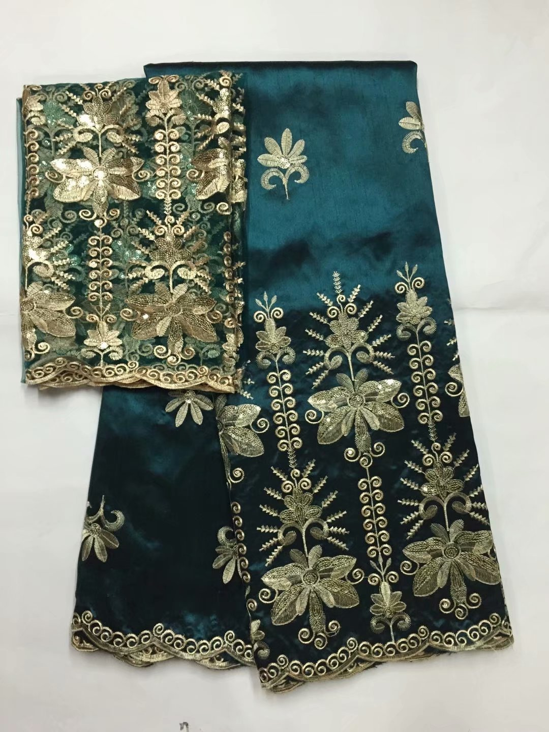 Blackish green2018 African George Lace Fabric With Blouse Indian Fabric With Blouse For Nigeria Wedding Dress Silk Lace Fabric