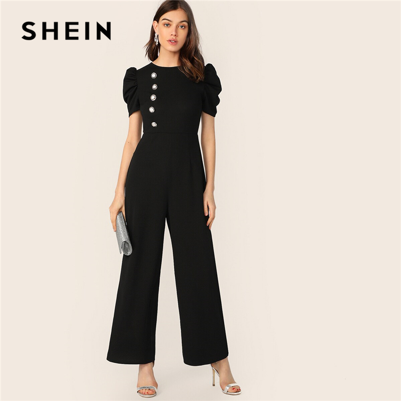 SHEIN Button Embellished Puff Sleeve Wide Leg Jumpsuit Elegant Spring Autumn Women Black Short Sleeve High Waist Jumpsuit(China)