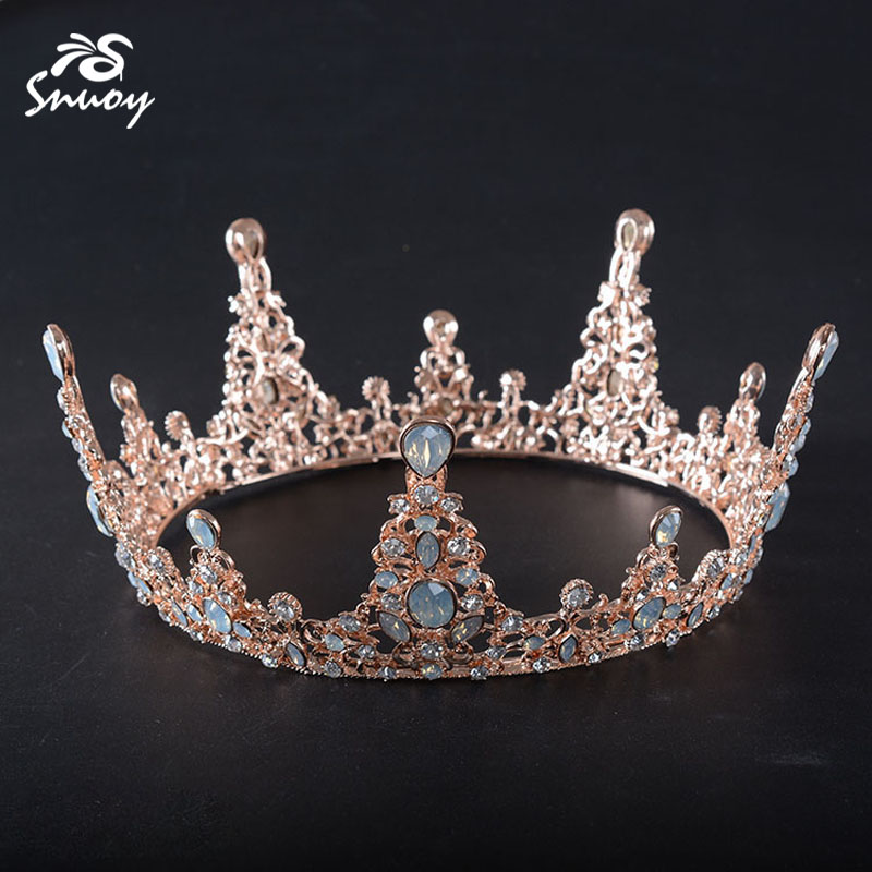 Snuoy Rose Gold Circle Queen Crown Cream Crystal Bridal