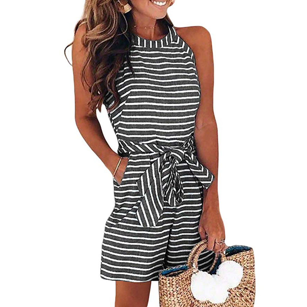 Women Round Neck Striped Clubwear Playsuit Bodycon Party   Jumpsuit   Trousers Hot Sale Good Quality Fashion   Jumpsuit   A506