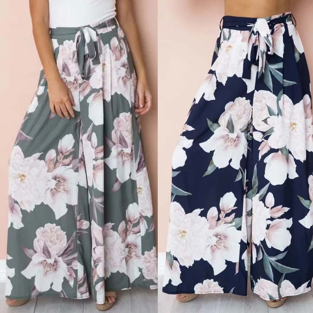 Women Sport High Waist Sexy High Polyester Casual Waist Flower Print Floral   Wide     Leg     Pants   Women   Pants   Summer korean gift