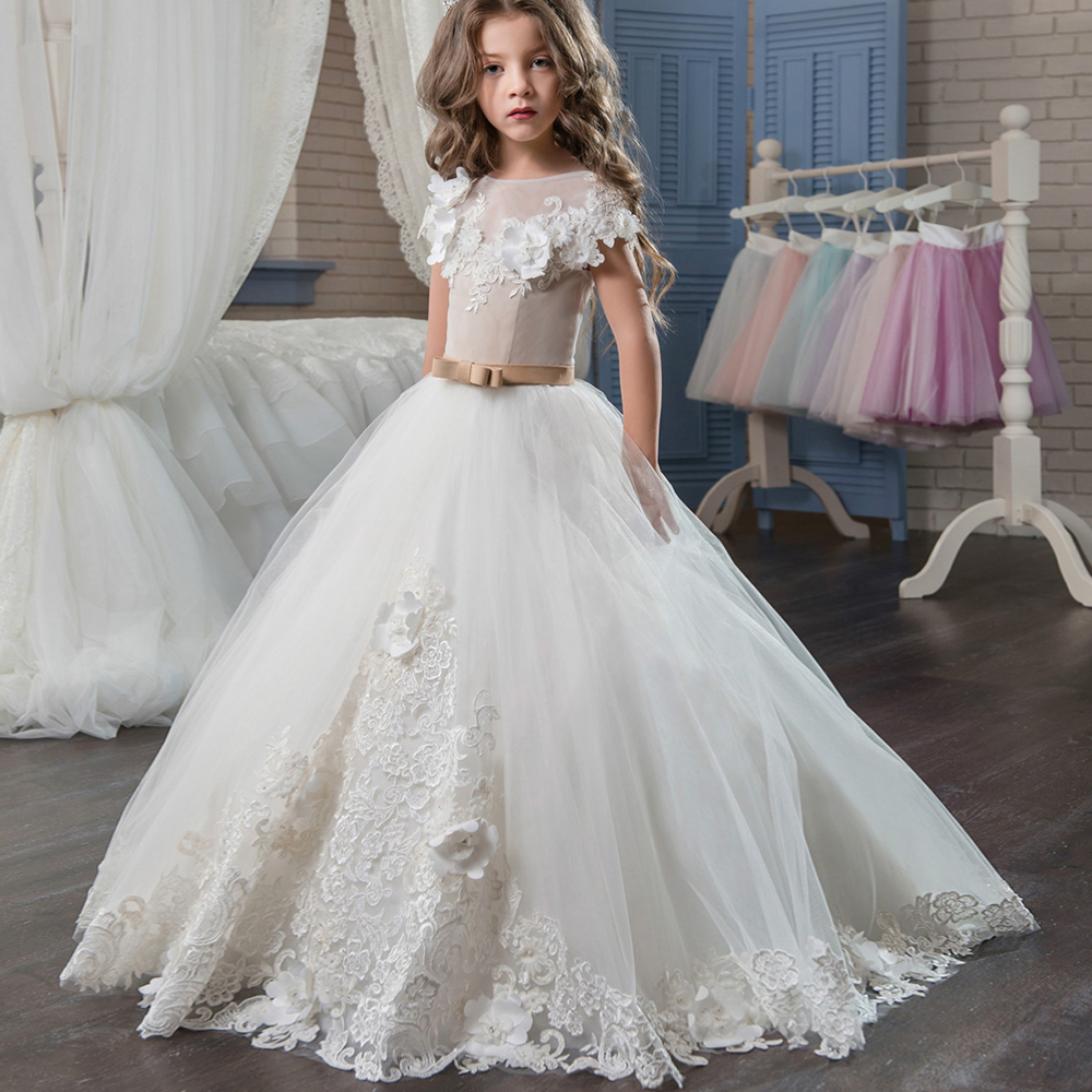 Pageant Dresses for Girl Flowers O-neck Lace Up Bow Sash Sleeveless Ball Gown Vestidos Longo Custom Made First Communion Gown white ivory butterfly lace flower girl dress bow sash sleeveless a line vestidos longo custom made first communion gown 2017