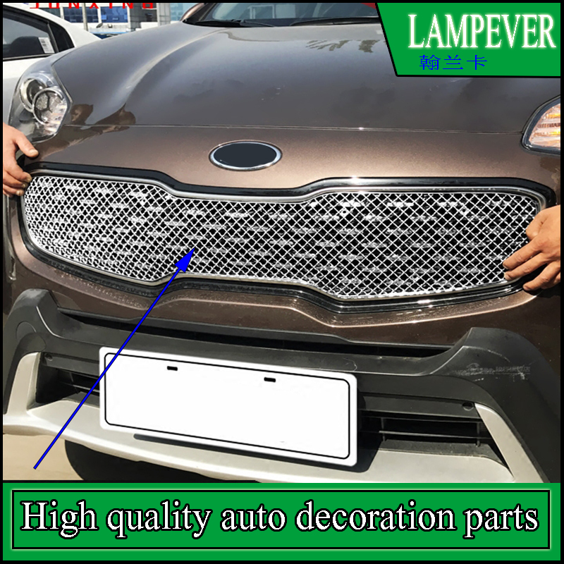 Car styling Stainless Steel Front Bumper Honeycomb Grille Trim For <font><b>KIA</b></font> Sportage 2016 2017 Center grill Cover Trim Accessories