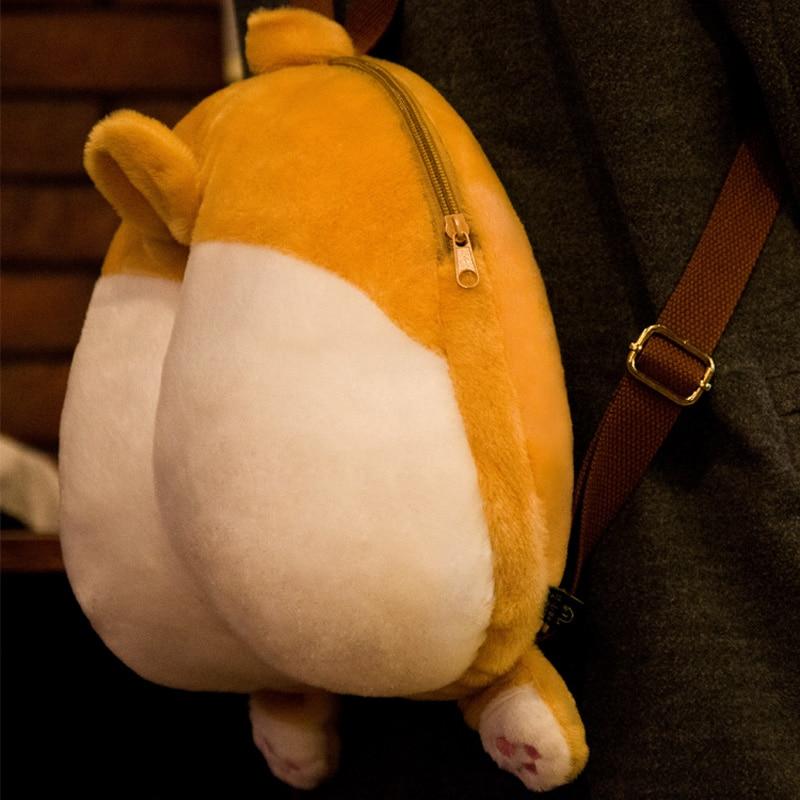 MSMO Chibi Corgi Butt Backpack პატარა Cute Pet Dog Plush - ზურგჩანთა - ფოტო 3