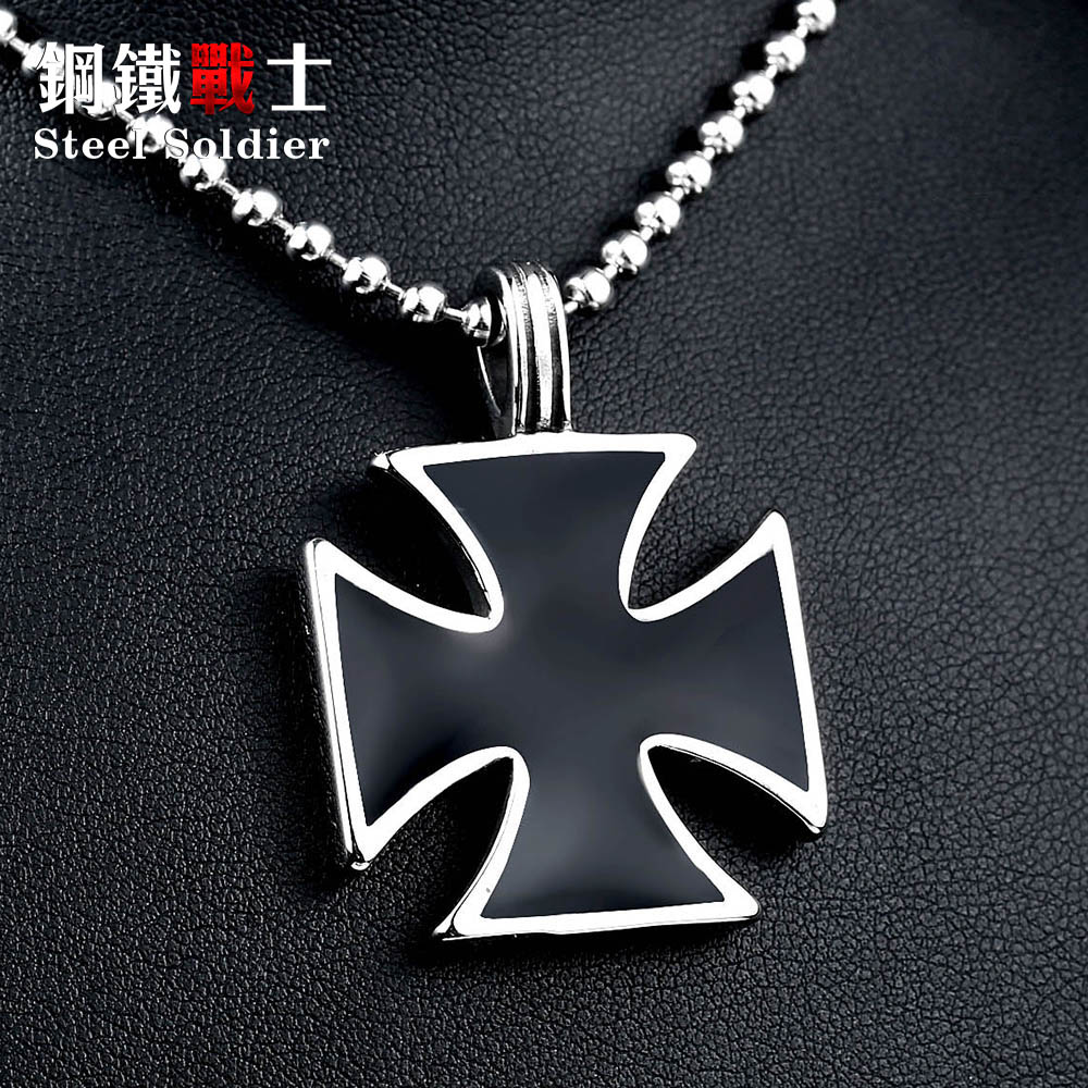 Colgante de cruz de hierro de acero inoxidable soldado de acero para hombres, personaltiy clásico collar colgante