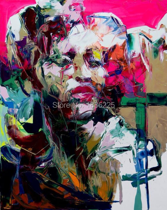 hand painted modern painting colorful woman abstract oil painting on canvas colorful face girl fashion home decoration picture