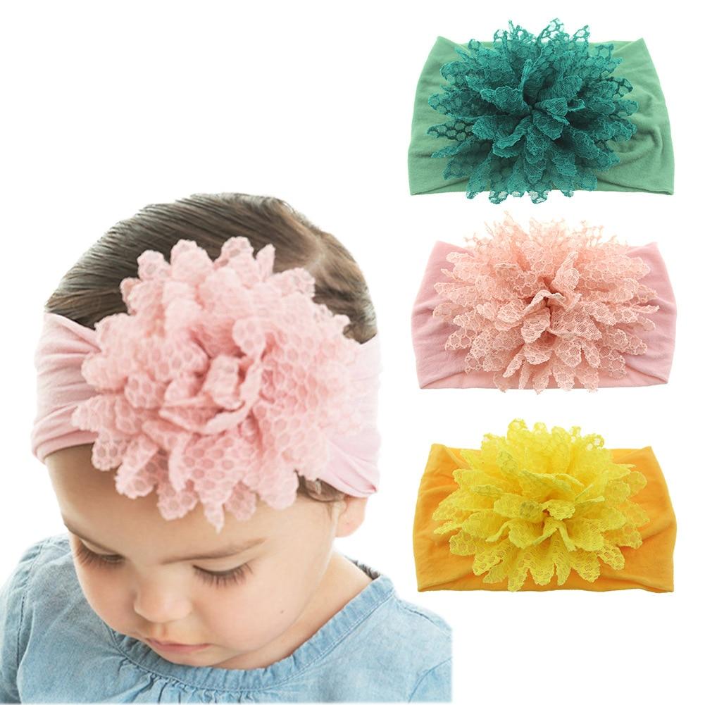Yundfly Fashion Baby Cotton Flower Headband Elastic Wide Nylon Floral Headwear Girls Hairband Hair Accessories