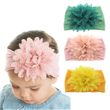 Yundfly Fashion Baby Cotton Flower Headband Elastic Wide Nylon Floral Headwear Girls Hairband Hair Accessories