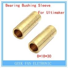 Free shipping 4pcs bearing bushing 3d printer accessory Ultimaker copper bush sintered 8mm * 11mm * 30mm diy for slide block