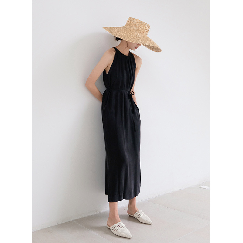 Femmes robes françaises 2019 printemps et été nouveau cuivre ammoniaque soie loisirs mince col rond 5606