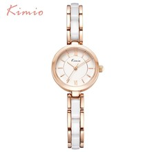 KIMIO Fashion Simple Dial Color Resin Imitation Ceramic Watch Bracelet Women Watches Black Wristwatch Womens Top Brand