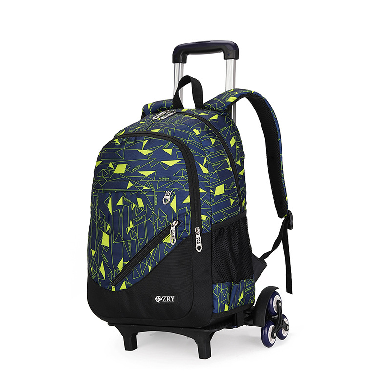 ZIRANYU Kids Boys Girls Trolley Schoolbag Luggage Book Bags Backpack Latest Removable Children School Bags QA2/6 Wheel Stairs