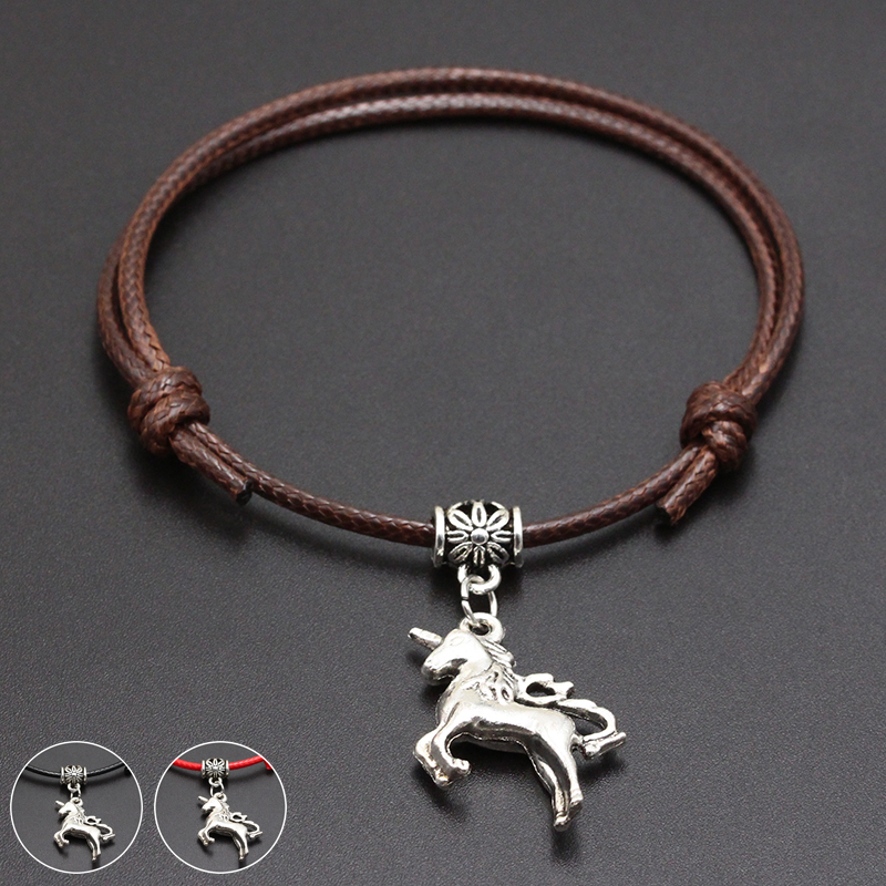 2020 New Animal Unicorn Pendant Red Thread String Bracelet Lucky Black Coffee Handmade Rope Bracelet for Women Men Jewelry