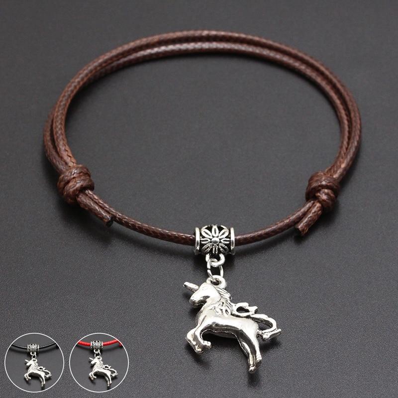 2020 New Animal Unicorn Pendant Red Thread String Bracelet Lucky Black Coffee Handmade Rope Bracelet for Women Men Jewelry