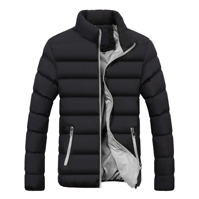 Hot Fashion Winter Jacket Men Brand Clothing Casual Coat Mens Jacket Solid Color Outwear Cotton Padded Parkas Male Slim Jacket