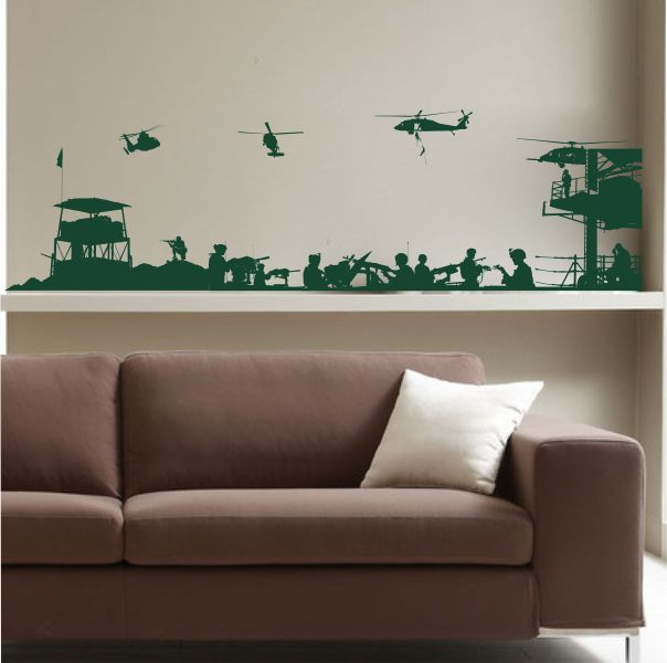 Military helicopter war scenes video wall stickers affixed to the game room dormitory childrens room creative backdrop