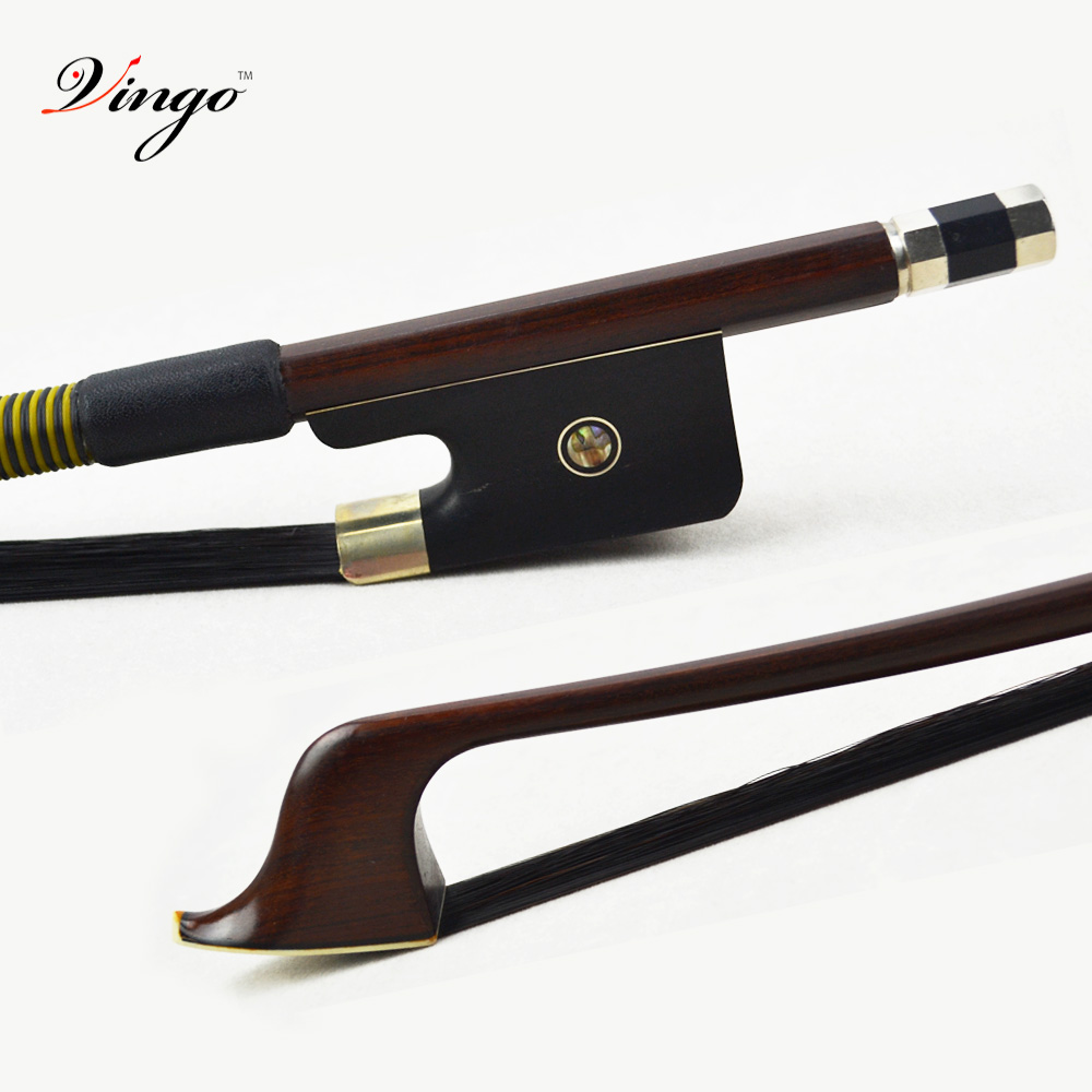 310BFB 1/8 Size French BASS BOW Brazilwood Stick Ebony Frog with Nickel Silver Natural Black Horsehair Bass Parts Accessories 1 4 size 812vb pernambuco violin bow high density ebony frog with nickel silver good quality hair straight violin accessories