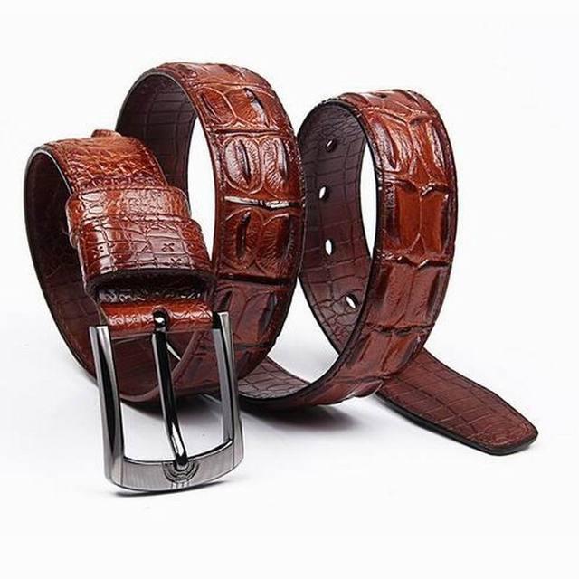 Lo nuevo cocodrilo diseñador cinturones hombres de alta calidad de vaca de  cuero genuino vintage pin 0735a72fff83
