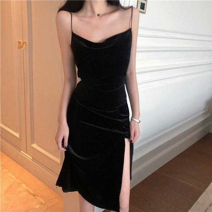 2020 Brand New Women Dress Spaghetti Strap Slit Velvet Black Dress Sexy Bodycon Bandage Dress Midi Party Dress Vestidos Verano
