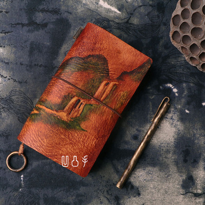 Leather journal sketchbook notebook diary TN diary book travel notebook hand book leather manual multi function hand painted