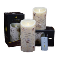 Luminara Birch Bark Flameless LED Candle Realistic Effect Moving Wick Yellow Light Candle Lamp Real Wax for Home Wedding Decor
