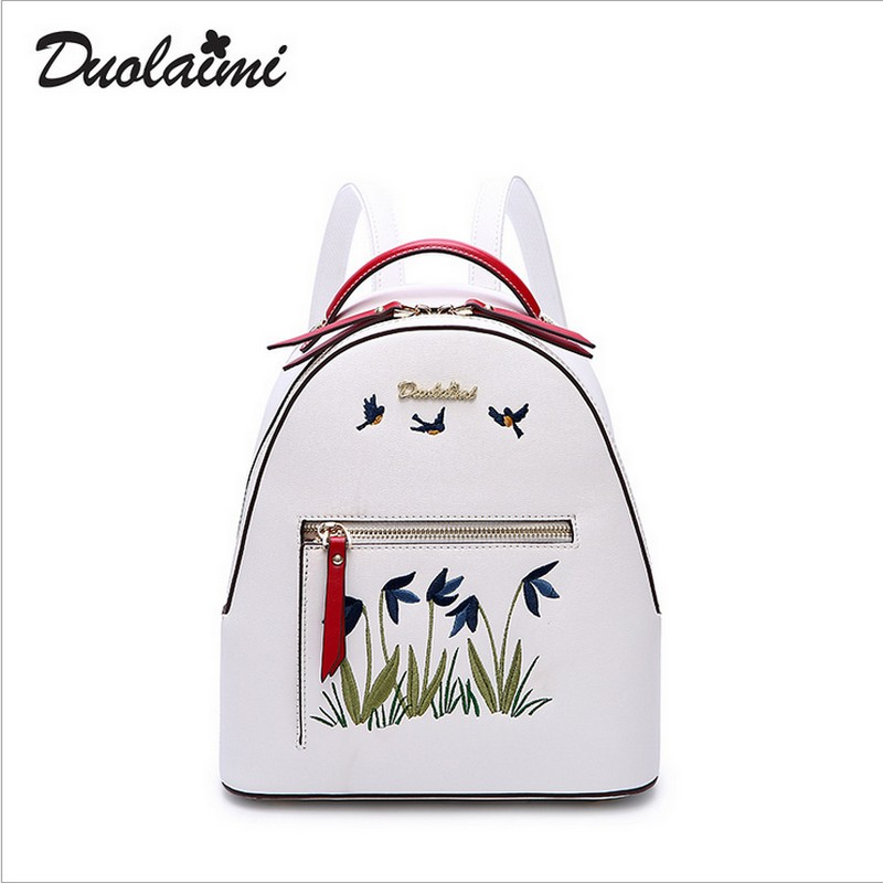Duolaimi brand Fashion Embroidery design Female Backpack Ladies School Bags women large Capacity travel bag