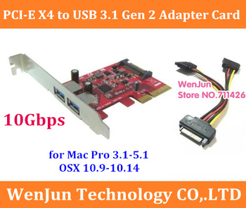 10Gbps Super Speed PCI-E 4x to USB 3.1 Gen2 dual type-A adapter Card for MAC PRO 3.1-5.1/OSX 10.9-10.14