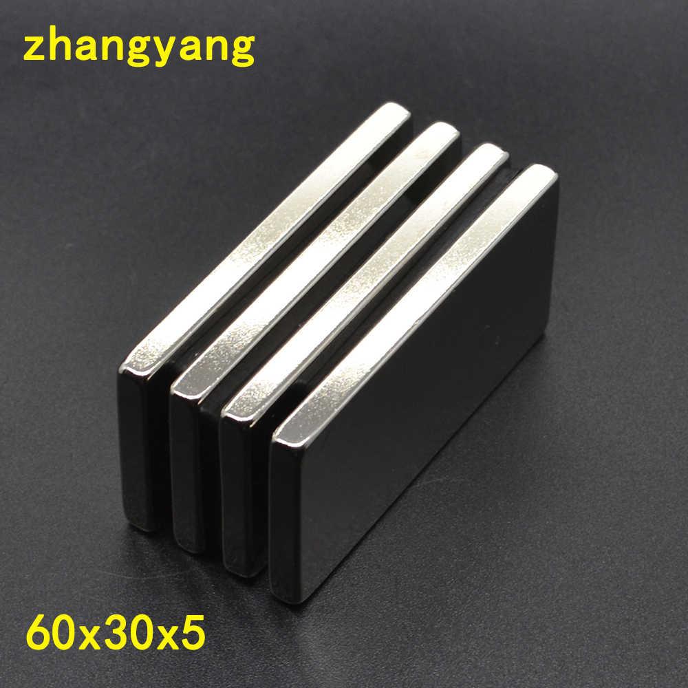 1/2/3 sztuk 60x30x5 blok N35 stałe Super 60mm x 30mm x 5mm mocne silne magnesy magnetyczne kwadratowy magnes neodymowy 60*30*5