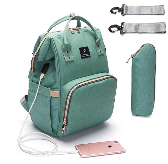 2018 Baby Diaper Bag With USB Interface Fashion Large Capacity Mummy Maternity Nappy Bag Travel Backpack Design Nursing Handbag