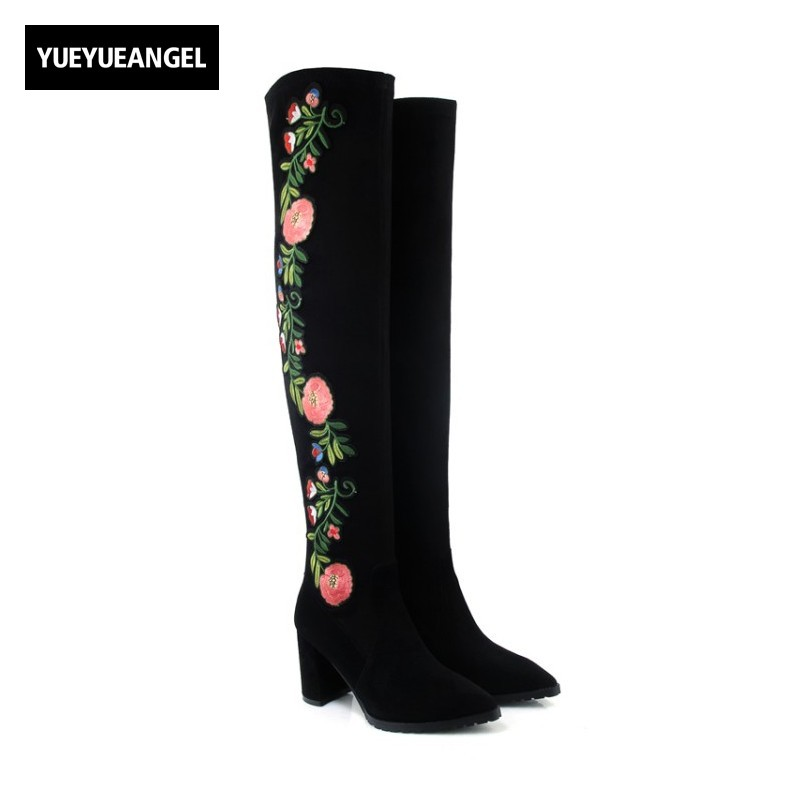 New Women Shoes Comfortable Pointed Toe Thigh High Boots Embroidery Flower For Women Over Knee Boots Folk Style Suede Leather