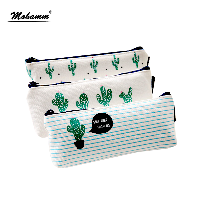 Kawaii Cute Korean Cactus Canvas Pencil Case Storage Organizer Pen Bags Pouch Pencil Bag Pencilcase School Supply Stationery