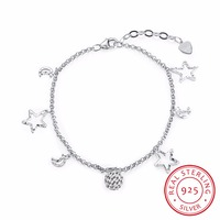 INALIS Brand Designer Moon Star Charms 925 Sterling Silver Bracelets For Women Fine Fashion Jewelry Best Gift Girl