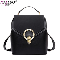MALLUO Famous Brand Preppy Style Leather School Backpack Bag For College Simple Design Women Casual Daypacks