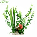 A Red Flower In The Green Grass With Ceramic Base Artificial Plants For Fish Tank Aquarium Background Decoration Accessories