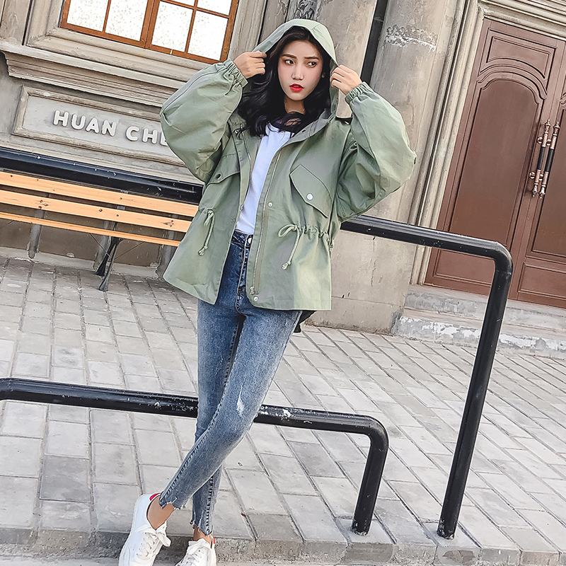 FTLZZ New Loose Trench Coat Spring Autumn Women's Hooded Black Green Windbreaker Outerwear Female Casual Trench Coat 7