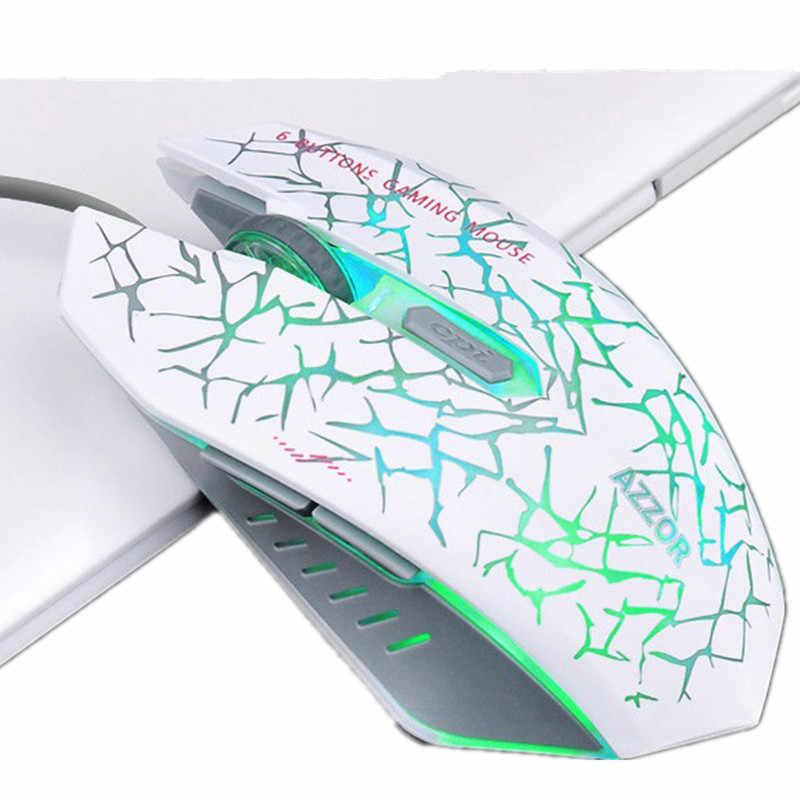 Проводной люминесценции игровой Мышь 2400 Точек на дюйм Подсветка трещины Тихая Mute геймер Мыши компьютерные для настольного компьютера ноутбука дома Применение офисных ПК