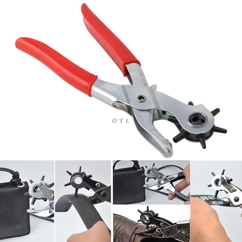 Heavy Duty Revolving 6 Hole Leather Belt Paper Eyelet Cut Plier Punch Craft Tool
