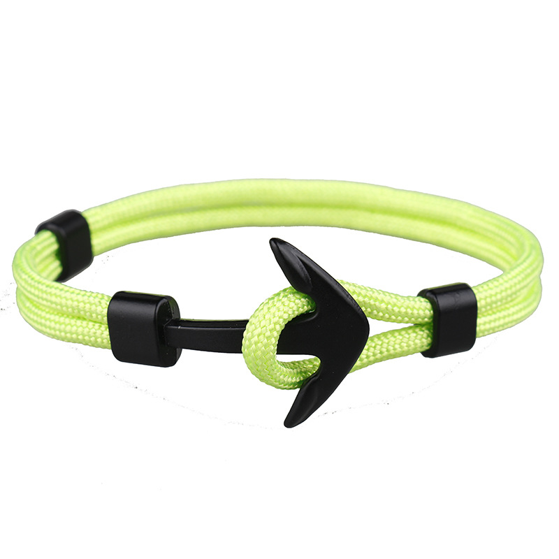 CUTEECO Fashion New Color Anchor Bracelets Men Charm Survival Rope Chain Paracord Bracelet Male Wrap Metal Sport Hooks Jewelry in Charm Bracelets from Jewelry Accessories