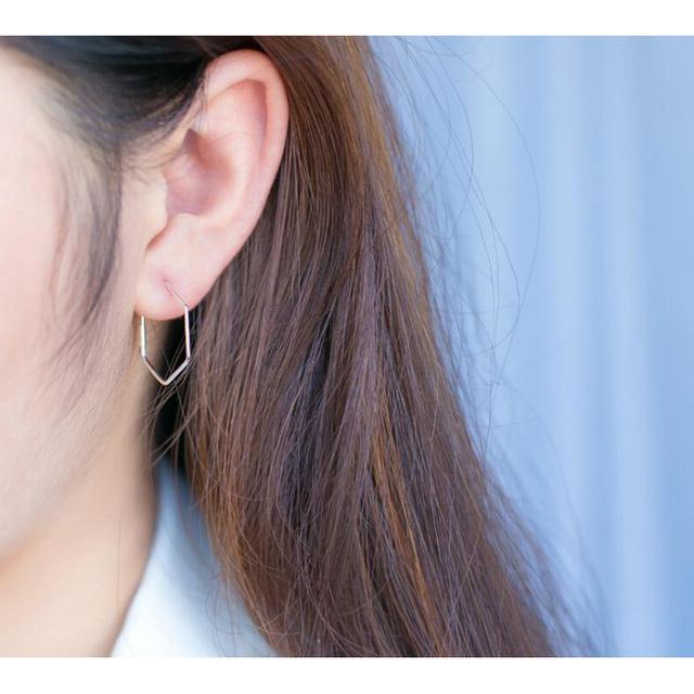 INZATT Real 925 Sterling Silver Minimalist Geometric Hollow Polygon Hoop Earrings For Women Party Fine Jewelry Accessories Gift