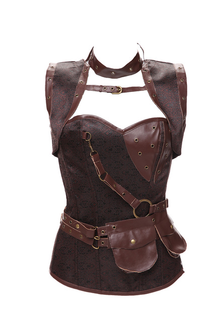Steampunk Corset Top Retro Gothic Steel Boned Brocade Vintage Steampunk Bustier Corsets High Neck Corselet Leather Corpetes