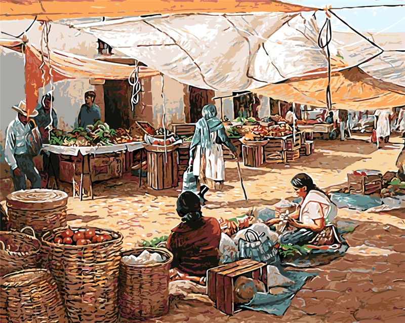 Indian Marketplace Drawing Oil painting Indian ma...