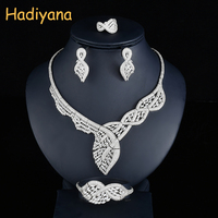 Hadiyana Fashion Twist Women Wedding Bride Jewelry Sets Luxury Cubic Zirconia Leaf Design Dubai 4PCS Set Jewelry Accessory CN727