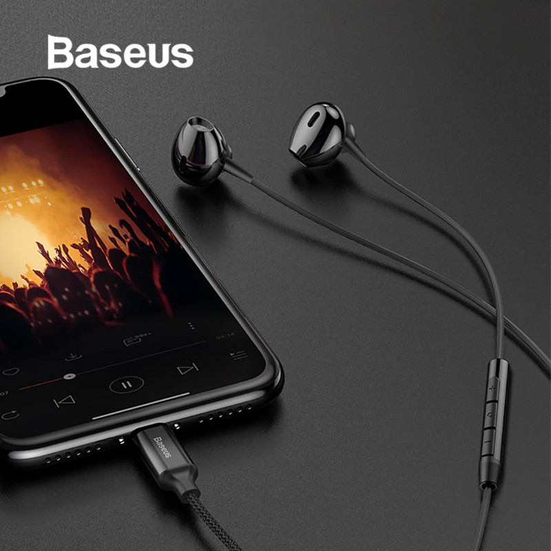 Baseus Wired Earphones for iPhone X 8 8 Plus Stereo Gaming Earphone In Ear with Microphone Music Earbuds for iPhone XR Xs Max