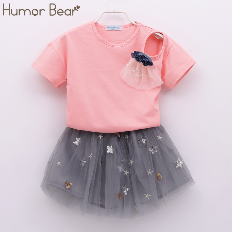 Humor Bear Girls Clothes 2018 Brand Girls Clothing Sets Kids Clothes Stars Sequins Design Children Clothing Girl Tops+Skirt humor bear girls clothes girls sets summer set 2018 kids clothes girls clothing sets two piece kids suit children clothing