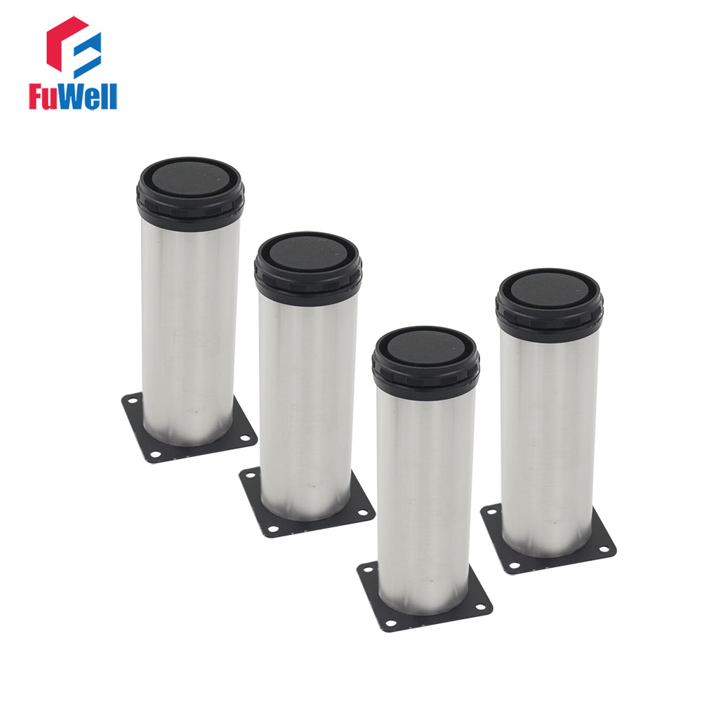 4pcs 250mm Height Furniture Legs Adjustable Height 15mm Stainless Steel Furniture Foot Table Bed Sofa Leveling Foot Cabinet Legs bqlzr 80x85mm round silver black adjustable stainless steel plastic furniture legs sofa bed cupboard cabinet table bench feet