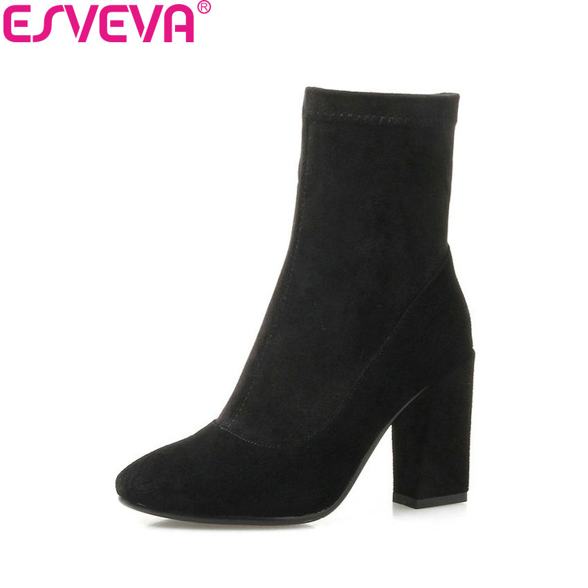 ESVEVA 2017 Women Boots Western Style Slim Look  Ankle Boots Round Toe Concise Stretch Fabric Short Fashion Boots Size 34-43 barbara russano hanning concise history of western music 2e sg