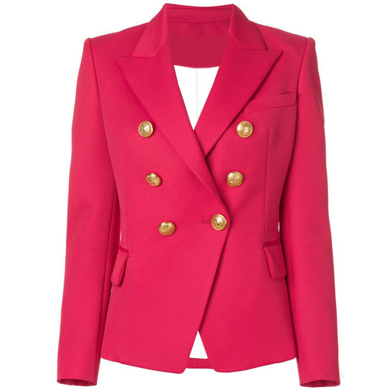 HIGH QUALITY New Stylish 2019 Designer Blazer Jacket Women's Lion Buttons Double Breasted Blazer Outerwear Size S-XXL Rose Red