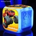 Juego 3d Blaze Máquinas Monstruosas Despertadores, LED Que Brilla Intensamente Cambio de Color Digital despertador Niños Juguete Multifunctio despertadores