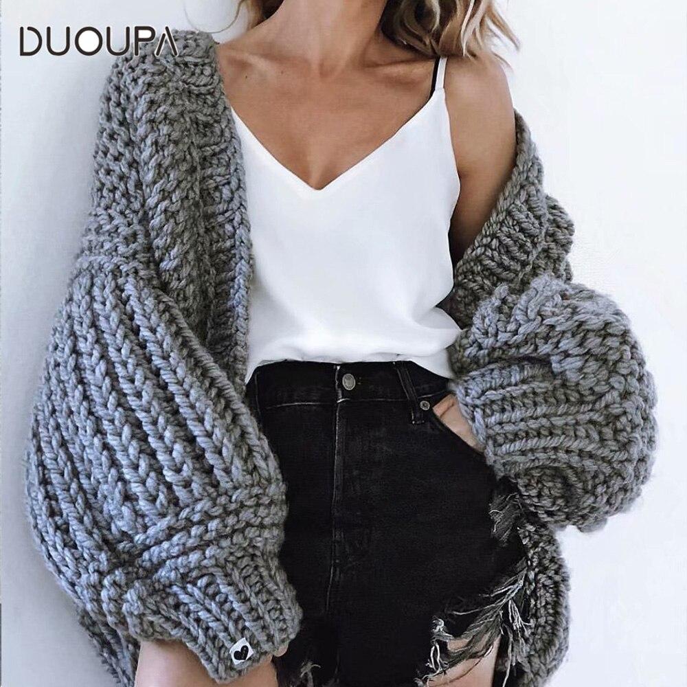 DUOUPA Frauen Mode Koreanischen Amerikanischen Lange Laterne Hülse Stricken Strickjacke pullover Frauen Gestrickte Lässige Warme Strickjacke Schal-in Strickjacken aus Damenbekleidung bei  Gruppe 1